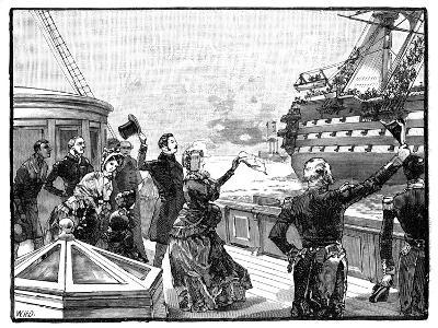 The Queen Waving Farewell to the 'Duke of Wellington' Flagship, C1850s--Giclee Print