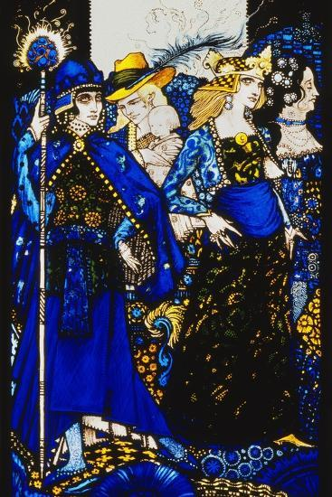 The Queens of Sheba, Meath and Connaught'. 'Queens', Nine Glass Panels Acided, Stained and?-Harry Clarke-Giclee Print