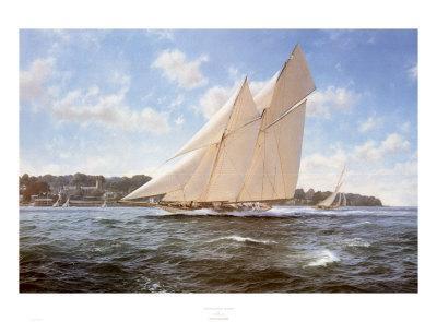 "The Racing Schooner /'Westward/"" by Steven Dews Tall Sailing Ships Marine Art"