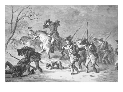 The Ragged and Defeated Continental Army Marching to Encampment at Valley Forge, Winter of 1777-78--Giclee Print