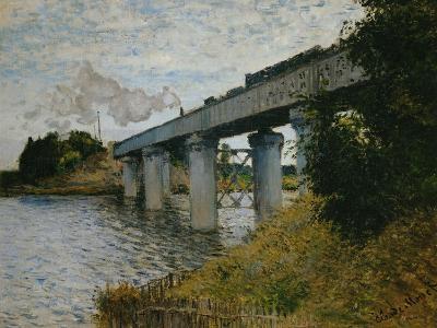 The Railroad Bridge at Argenteuil-Claude Monet-Giclee Print