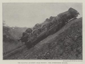 The Railway Accident Near Penryn, the Overturned Engine