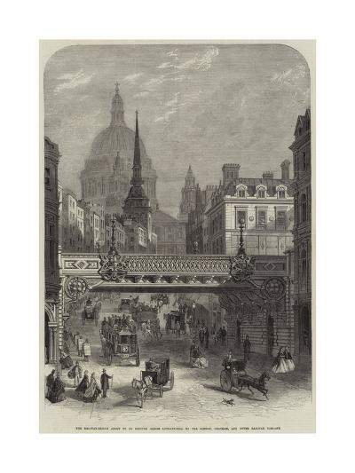 The Railway-Bridge About to Be Erected across Ludgate-Hill by the London--Giclee Print