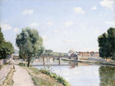 The Railway Bridge, Pontoise, C.1873-Camille Pissarro-Giclee Print