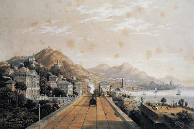 The Railway in Genoa, Lithograph, Italy, 19th Century--Giclee Print