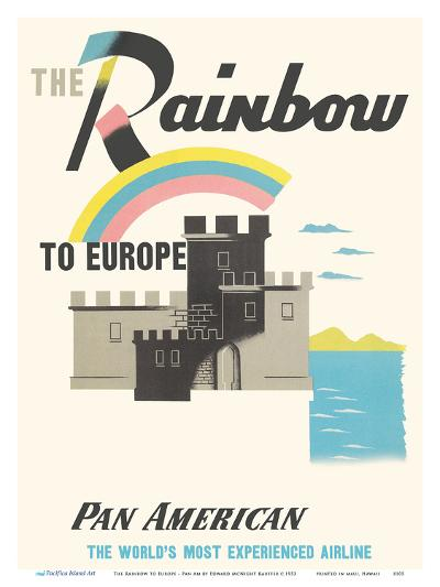 The Rainbow to Europe - Pan American World Airways-Edward McKnight Kauffer-Art Print