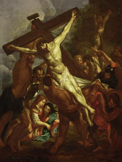 The Raising of the Cross, Sketch for Part of the Ceiling of the Jesuit Church in Antwerp, 1620-1621-Peter Paul Rubens-Giclee Print