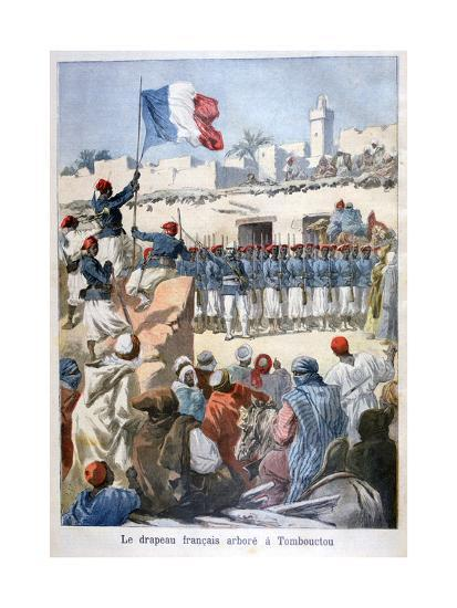 The Raising of the French Flag at Timbuktu, 1894-Frederic Lix-Giclee Print