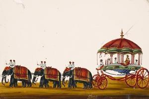 The Raja of Malayam in His Carriage Being Pulled by Three Pairs of Elephants, from Thanjavur, India