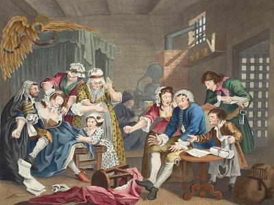 The Rake in Prison, Plate Vii, from 'A Rake's Progress', Illustration from 'Hogarth Restored: the…-William Hogarth-Giclee Print