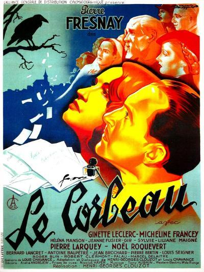 THE RAVEN, (aka LE CORBEAU),  French poster, center: Micheline Francey, Pierre Fresnay, 1943--Art Print