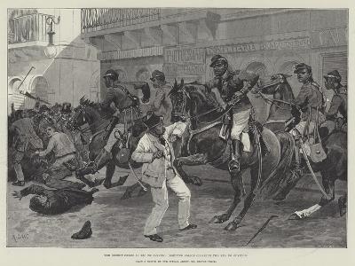 The Recent Crisis in Rio De Janeiro, Mounted Police Clearing the Rua Do Ouvidor-Richard Caton Woodville II-Giclee Print