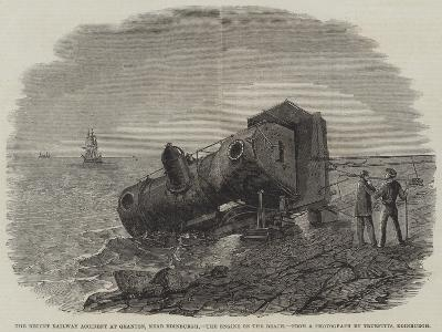 The Recent Railway Accident at Granton, Near Edinburgh, the Engine on the Beach-Frederick Morgan-Giclee Print