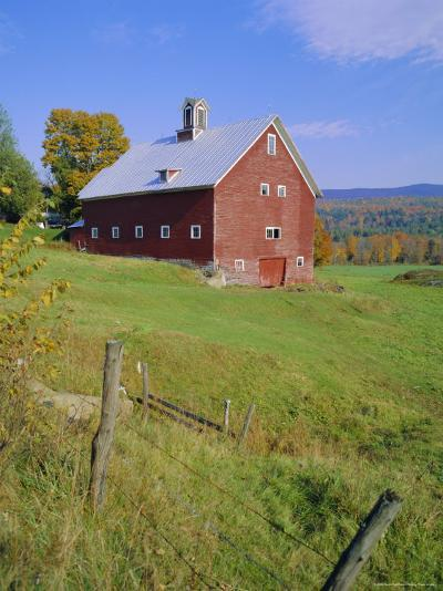 The Red Barns Typify Vermont's Countryside, Vermont, USA-Fraser Hall-Photographic Print