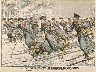 The Red Cross Transporting Injured Russians on Skis During the Russo-Japanese War--Giclee Print