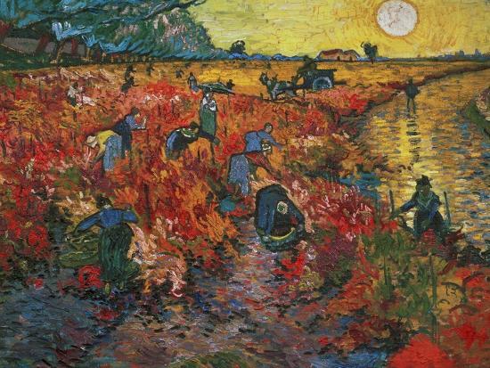 The Red Vineyard at Arles, c.1888-Vincent van Gogh-Premium Giclee Print