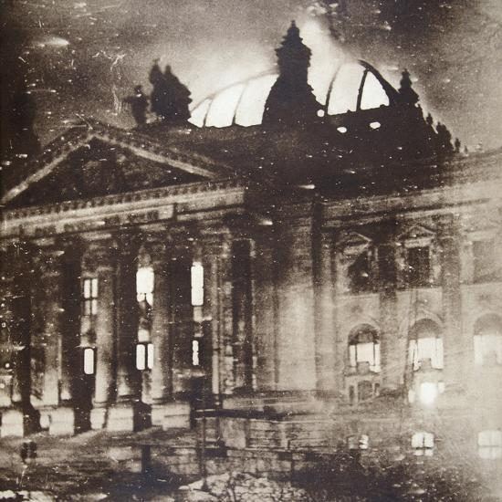 The Reichstag on fire, Berlin, Germany, 27 February 1933-Unknown-Photographic Print