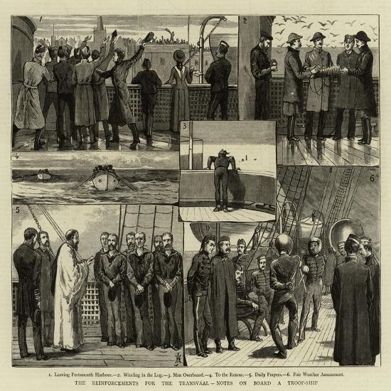The Reinforcements for the Transvaal, Notes on Board a Troop-Ship--Giclee Print