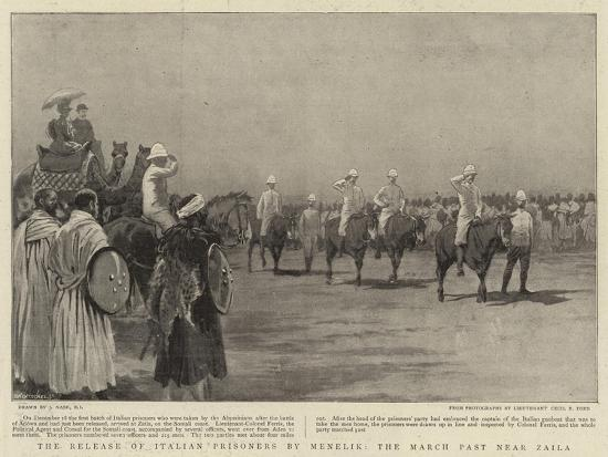 The Release of Italian Prisoners by Menelik, the March Past Near Zaila-Joseph Nash-Giclee Print