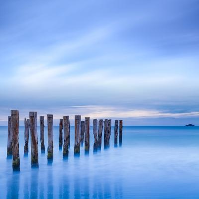 The Remains of an Old Jetty on the Beach Near Dunedin, New Zealand, Just before Dawn, Square-Travellinglight-Photographic Print