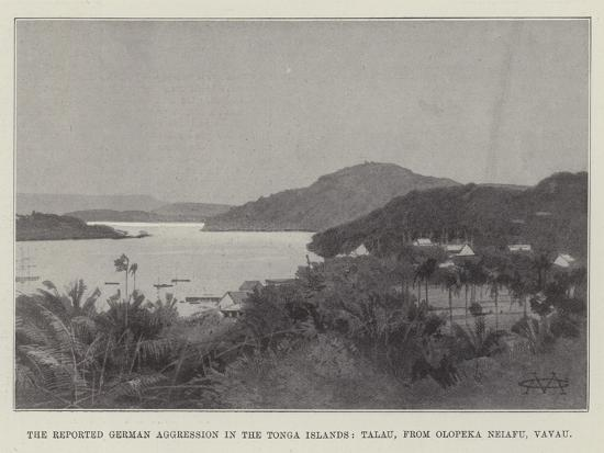 The Reported German Aggression in the Tonga Islands, Talau, from Olopeka Neiafu, Vavau-Charles Auguste Loye-Giclee Print
