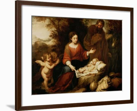 The Rest on the Flight Into Egypt-Bartolome Esteban Murillo-Framed Giclee Print