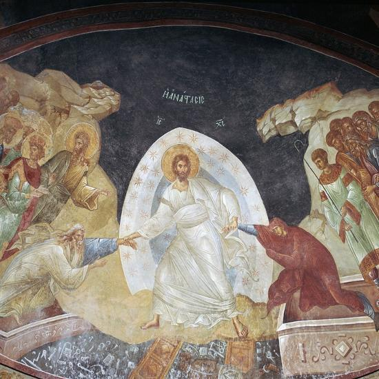 The Resurrection in the church of St Saviour in Chora, 14th century. Artist: Unknown-Unknown-Giclee Print
