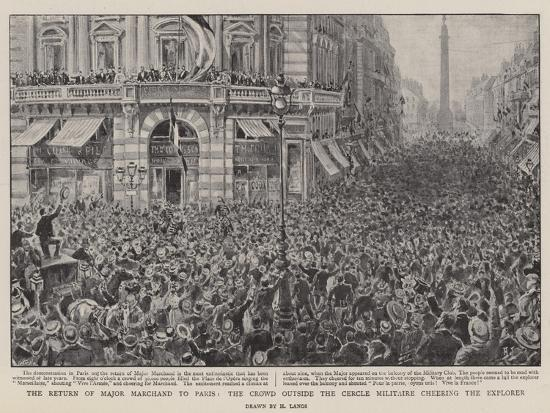 The Return of Major Marchand to Paris, the Crowd Outside the Cercle Militaire Cheering the Explorer-Henri Lanos-Giclee Print