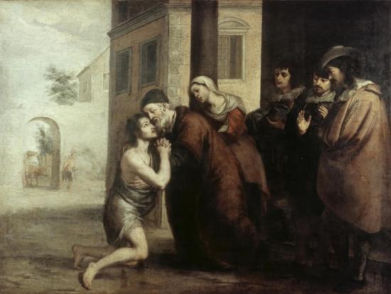 The Return of the Prodigal Son-Bartolome Esteban Murillo-Giclee Print