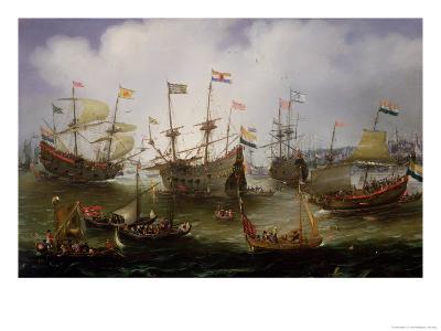 The Return to Amsterdam of the Fleet of the Dutch East India Company in 1599-Andries van Eertvelt-Giclee Print