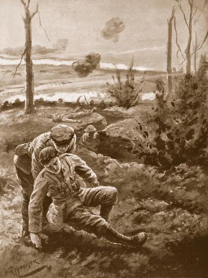 The Rev. W.R.F. Addison Carries a Wounded Man to the Cover of a Trench-H. Ripperger-Giclee Print