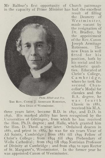 The Reverend Canon J Armitage Robinson, New Dean of Westminster--Giclee Print