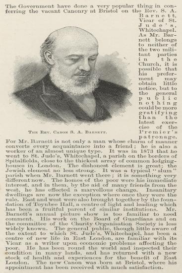 The Reverend Canon S a Barnett--Giclee Print