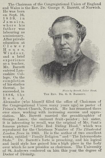 The Reverend Dr G S Barrett--Giclee Print