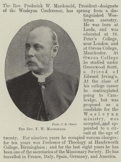 The Reverend F W Macdonald--Giclee Print
