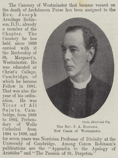 The Reverend J a Robinson, New Canon of Westminster--Giclee Print