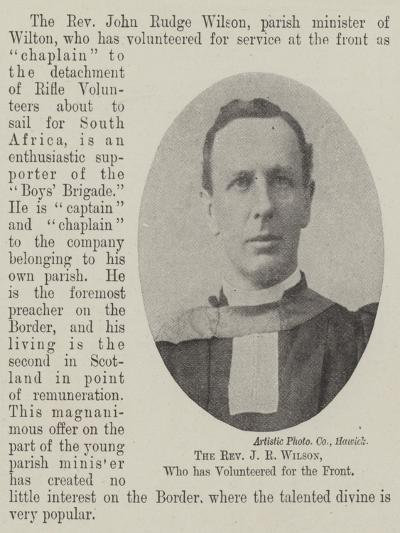 The Reverend J R Wilson, Who Has Volunteered for the Front--Giclee Print
