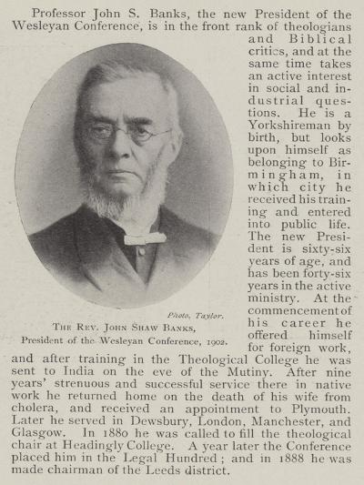 The Reverend John Shaw Banks, President of the Wesleyan Conference, 1902--Giclee Print