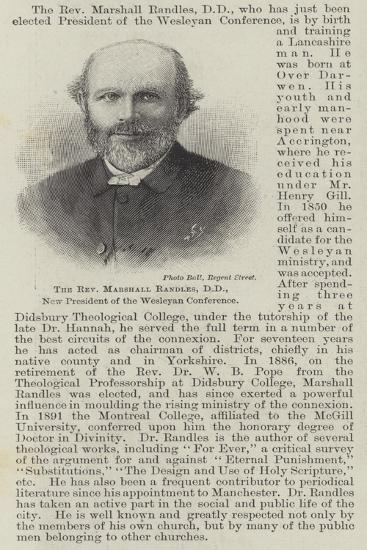 The Reverend Marshall Randles, Dd, New President of the Wesleyan Conference--Giclee Print