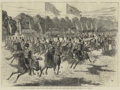 The Review in Windsor Park before Her Majesty and the Shah, the Artillery Passing at a Gallop-Alfred Chantrey Corbould-Giclee Print