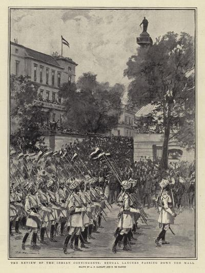 The Review of the Indian Contingents, Bengal Lancers Passing Down the Mall--Giclee Print