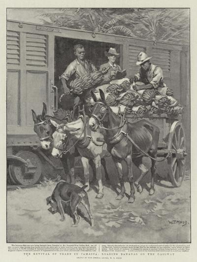 The Revival of Trade in Jamaica, Loading Bananas on the Railway-William T^ Maud-Giclee Print