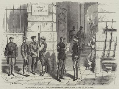 The Revolution in Spain, a Post of Volunteers of Liberty in the Puerta Del Sol, Madrid--Giclee Print