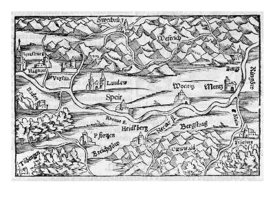The Rhine at Speyer, with Other Towns Indicated--Giclee Print