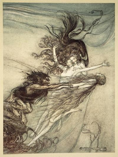 The Rhinemaidens Teasing Alberich, illustration from 'The Rhinegold and the Valkyrie', 1910-Arthur Rackham-Giclee Print