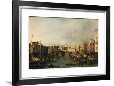 The Rialto Bridge According to a Project by Palladio, by Francesco Guardi--Framed Giclee Print
