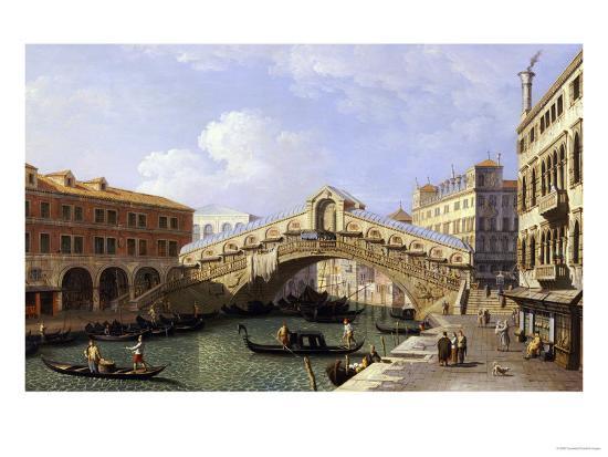 The Rialto Bridge Venice from the South with the Fondamenta Del Vin and the Fondaco Dei Tedeschi-Canaletto-Giclee Print