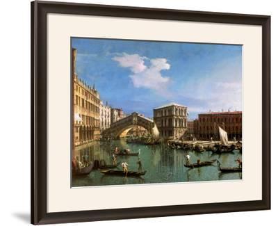 The Rialto Bridge, Venice-Canaletto-Framed Giclee Print