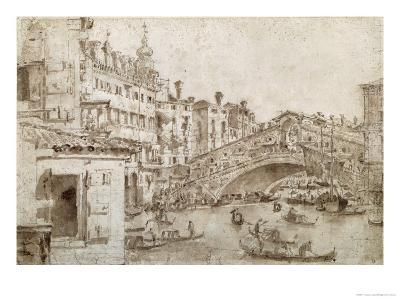 The Rialto Bridge, Venice-Francesco Guardi-Giclee Print