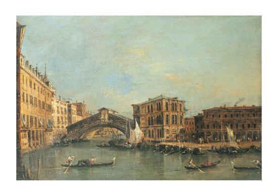 The Rialto Bridge-Canaletto-Premium Giclee Print